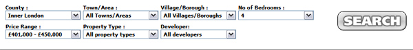 Example of a search for London Properties with 4 Bedrooms costing between £401,000 and £450,000